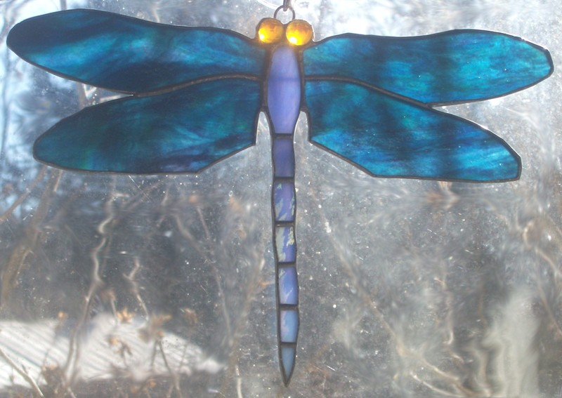 """Mosaic Pattern - 16"""" Hex - Dragonfly/Lotus - Glass Crafters"""